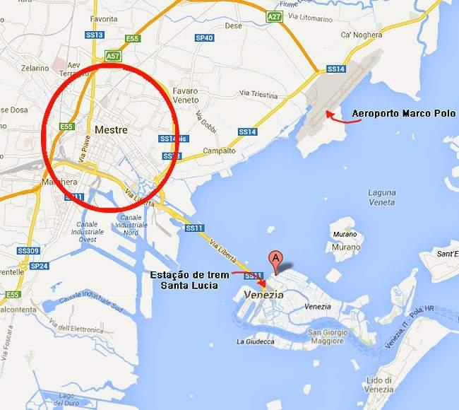 Mapa Veneza Mestre