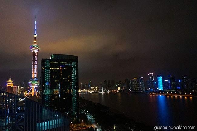 Vista de Xangai à noite