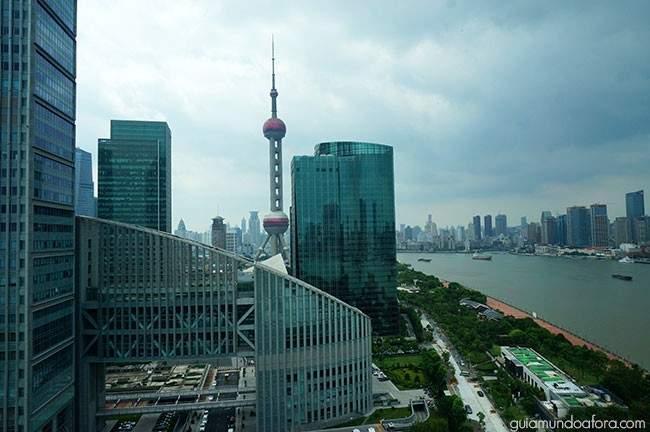Vista do meu quarto no Mandarin Oriental Xangai