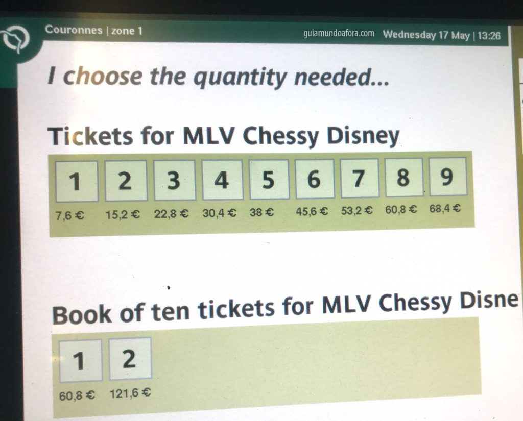 tickets para chegar na Disneyland Paris